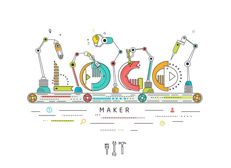 卡通的机械加工厂矢量插画
