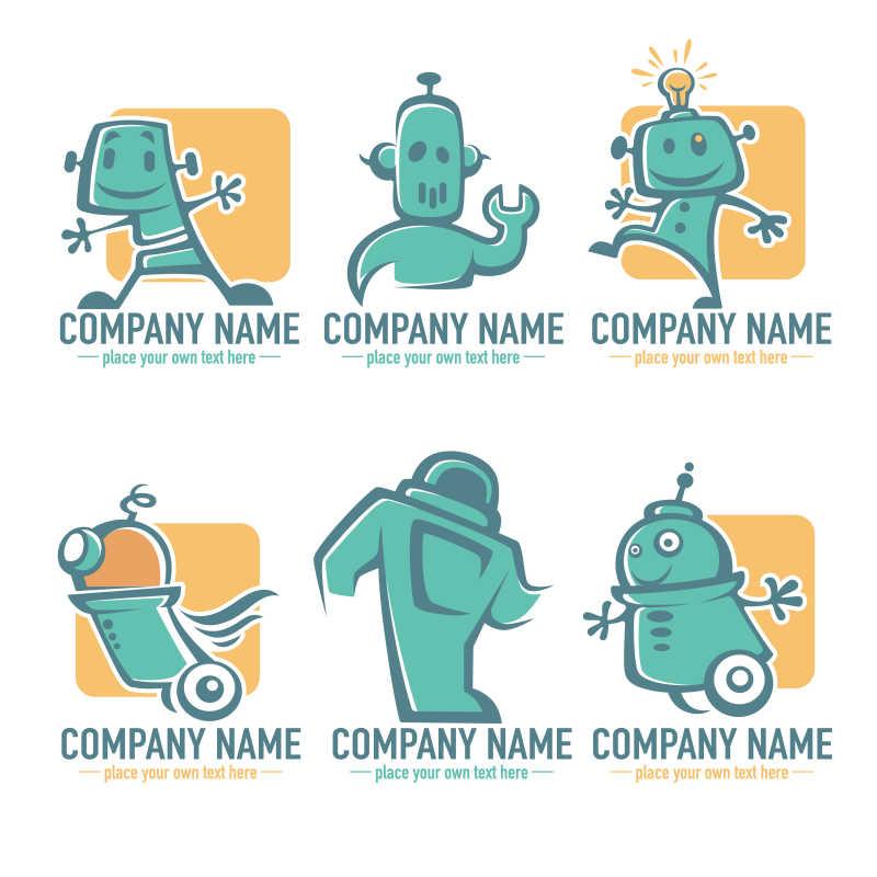 矢量的绿色机器人插画
