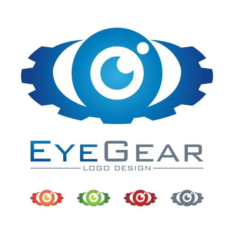 齿轮和眼睛组合的矢量商标设计