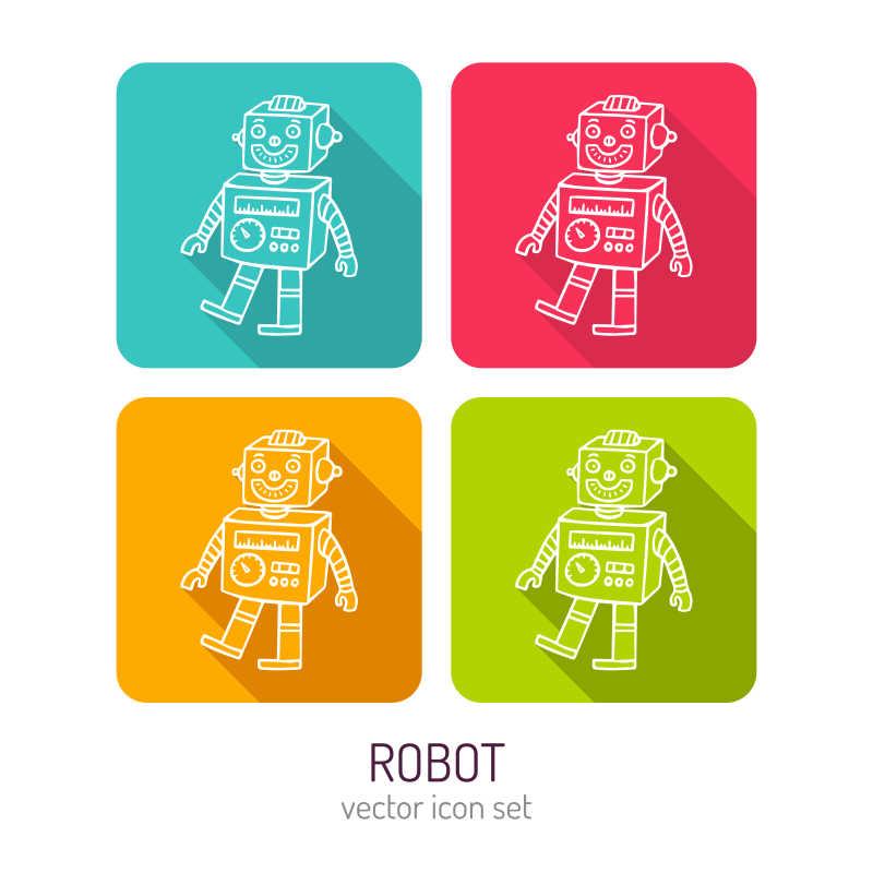 机器人玩具矢量拼接背景