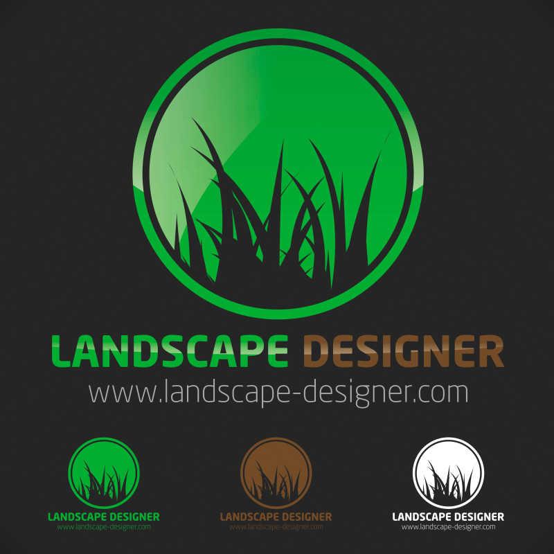 矢量绿草生态标志设计