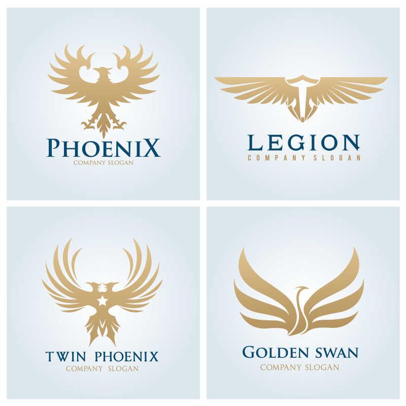 创意金色鸟类图标设计矢量插图