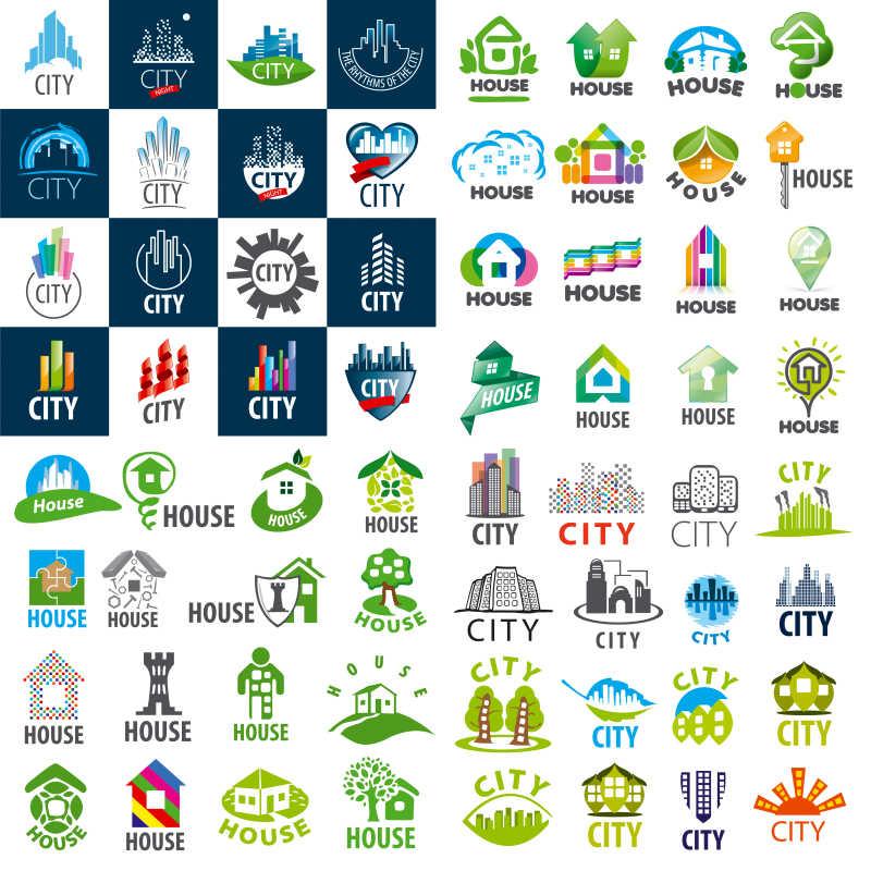 矢量标识住宅和城市商标