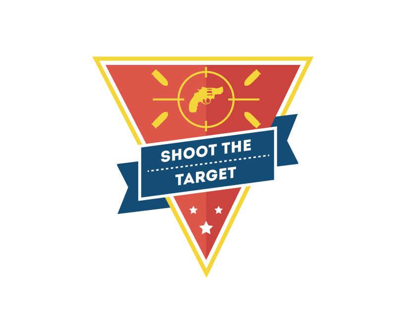 矢量射击概念平面图标设计图
