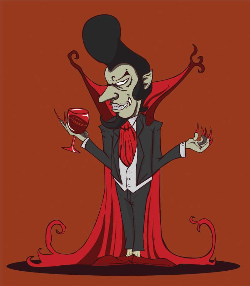 矢量万圣节吸血鬼插图