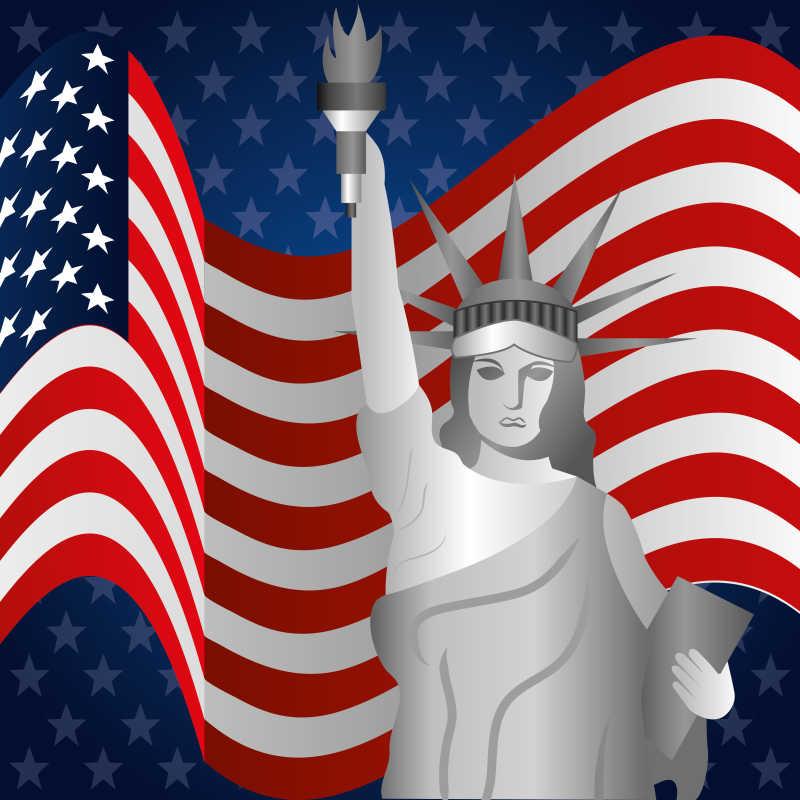 矢量美国国旗背景和自由女神像插图