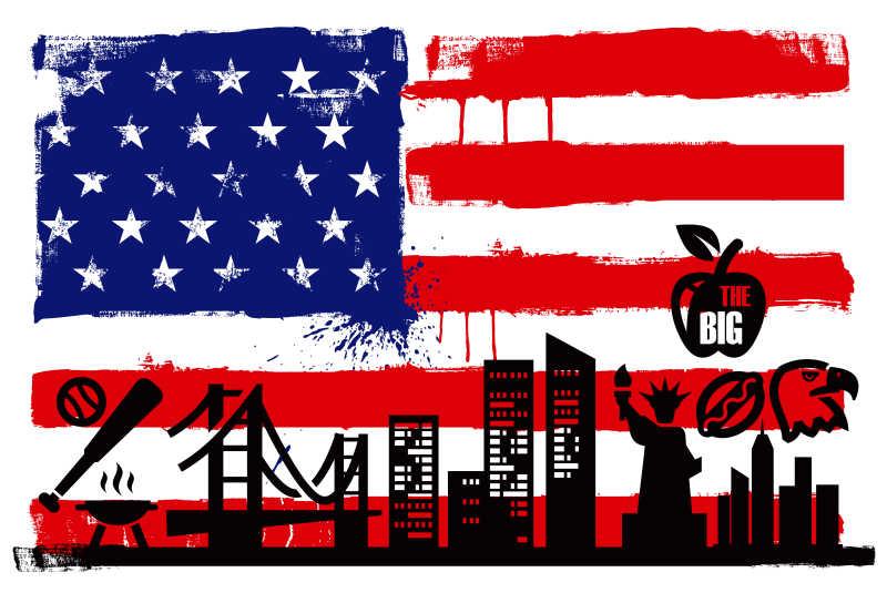 美国国旗和剪影矢量图