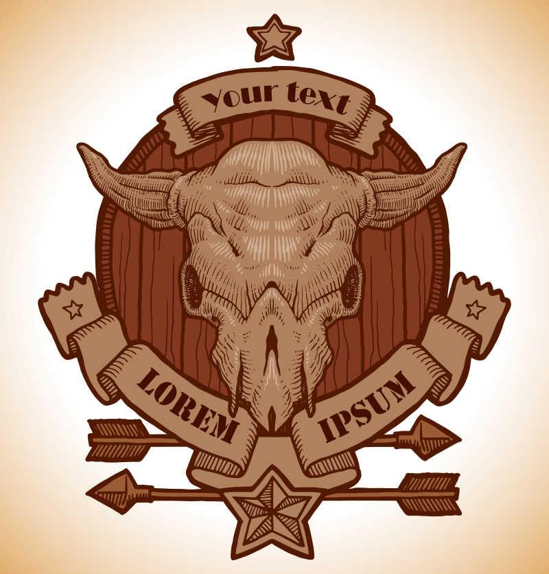 矢量木制牛头骨徽章