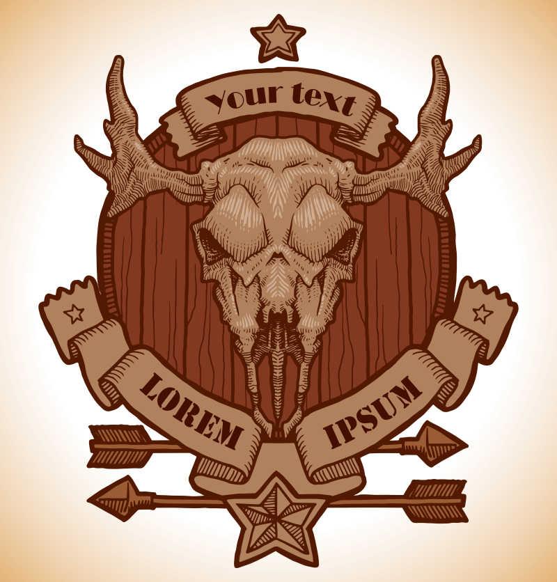 动物头骨矢量徽章