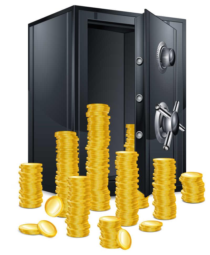 全是硬币的保险箱矢量图
