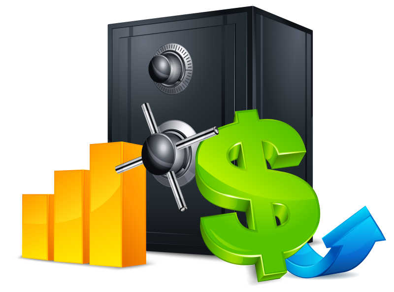 矢量保险箱和金融图标