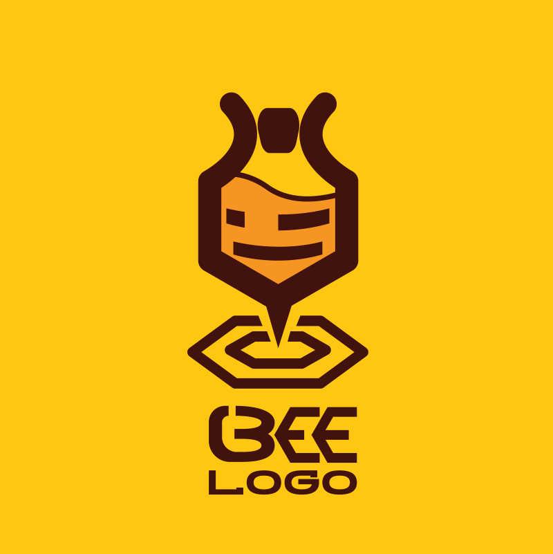 扁平风格的矢量蜜蜂图案标志设计