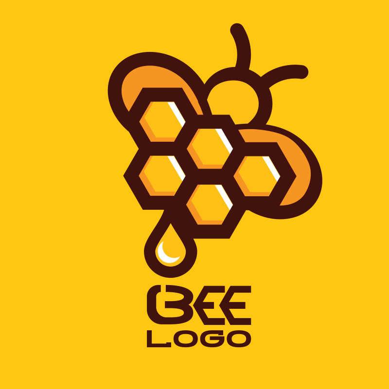 蜂巢相关元素的矢量蜜蜂标志设计