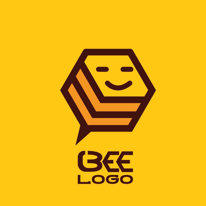 创意简单矢量蜜蜂标志设计