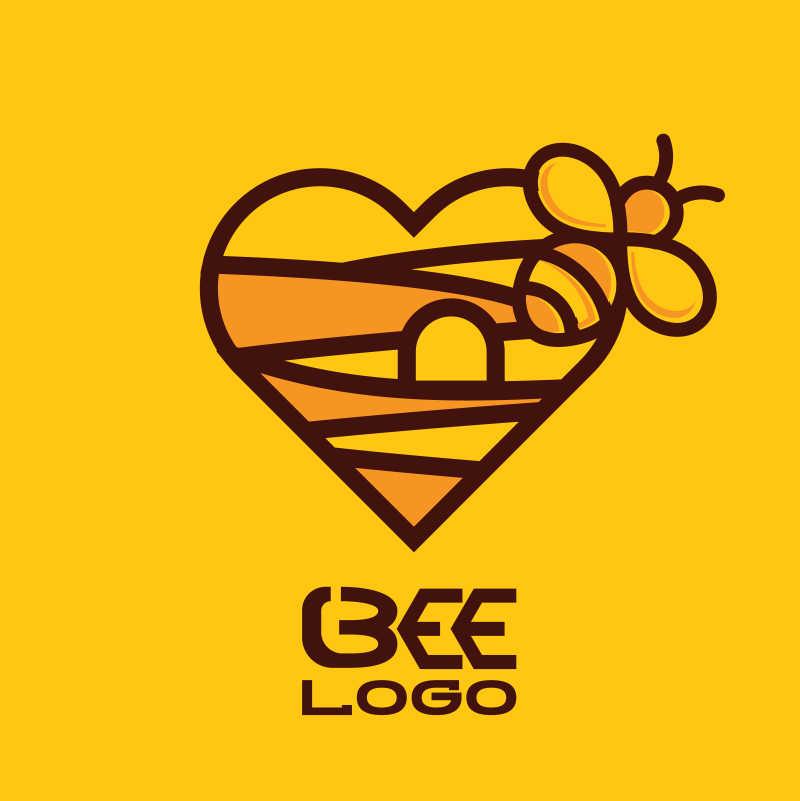 有趣的矢量蜜蜂标志设计