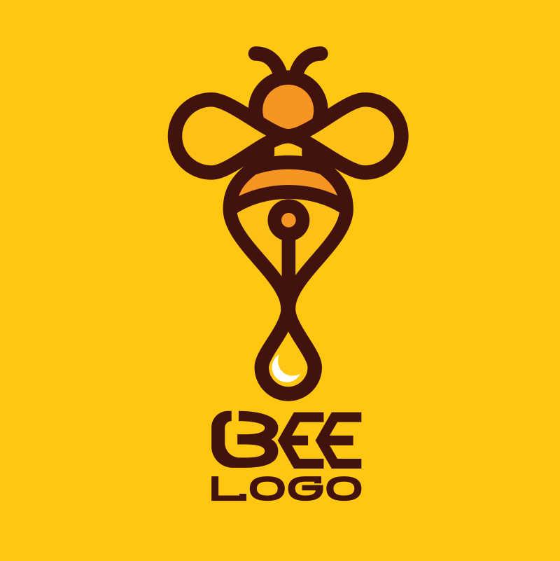 蜜蜂产品创意矢量图标设计
