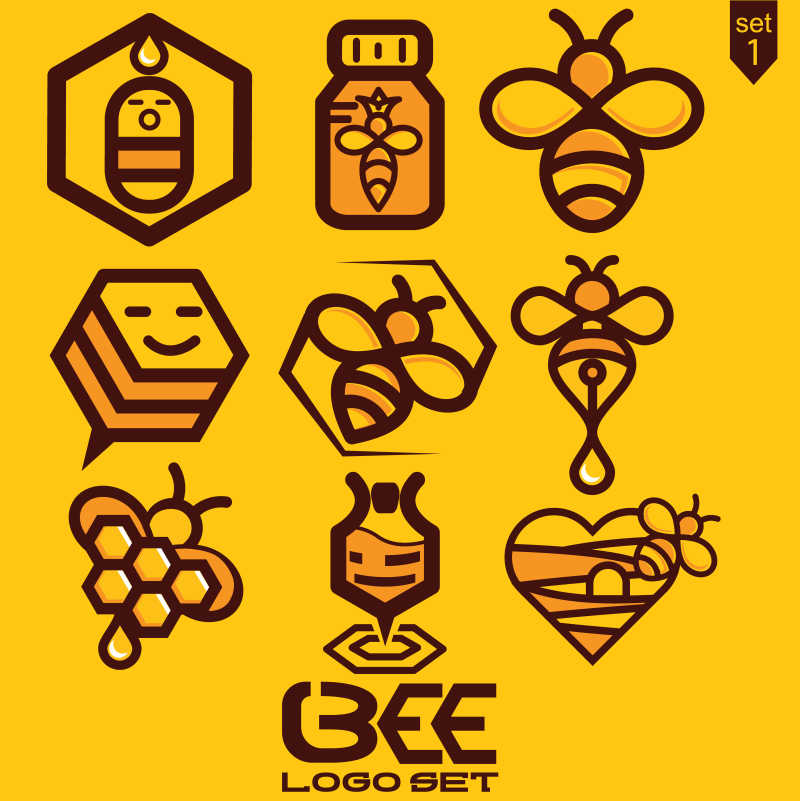 蜜蜂品牌矢量标志设计合集