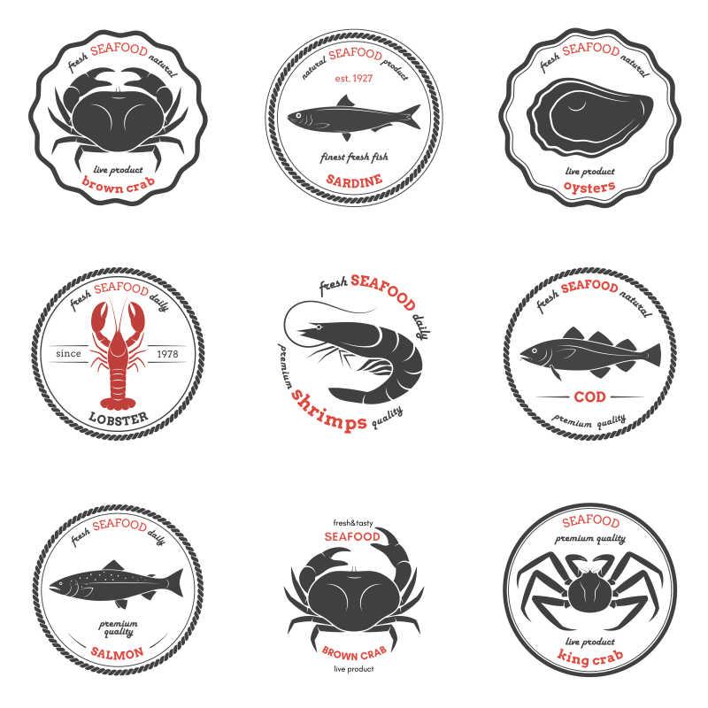 矢量海鲜的标签模板