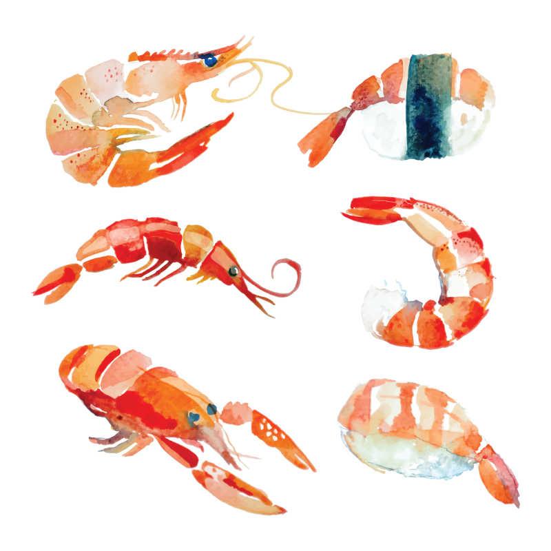 矢量水彩虾与寿司