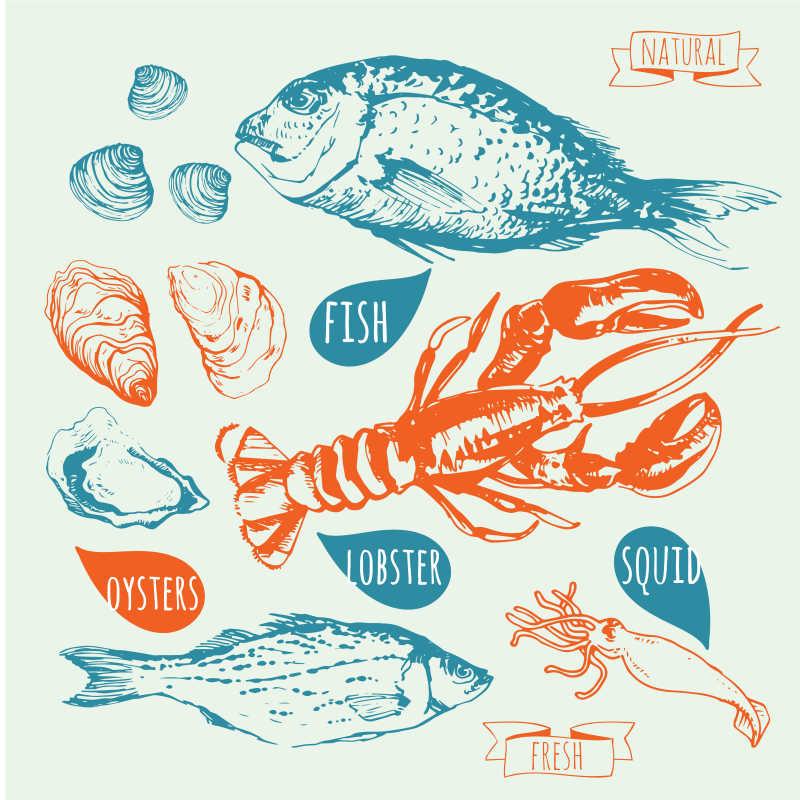 矢量海鲜插画