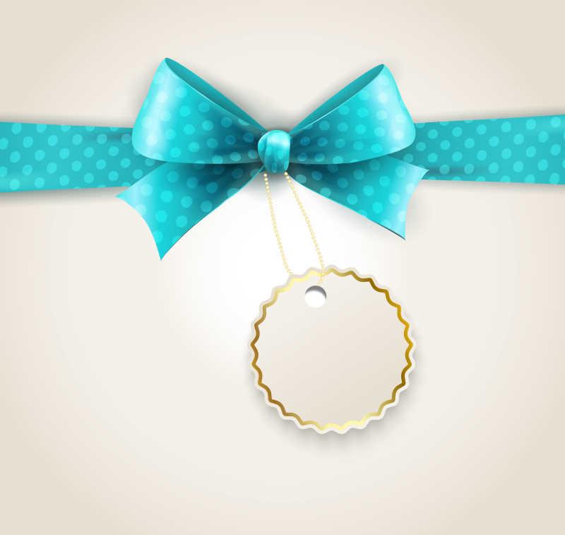 系着金色耳环的蓝色蝴蝶丝带矢量插画