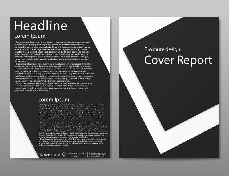 矢量黑白双色的创意宣传册设计模板