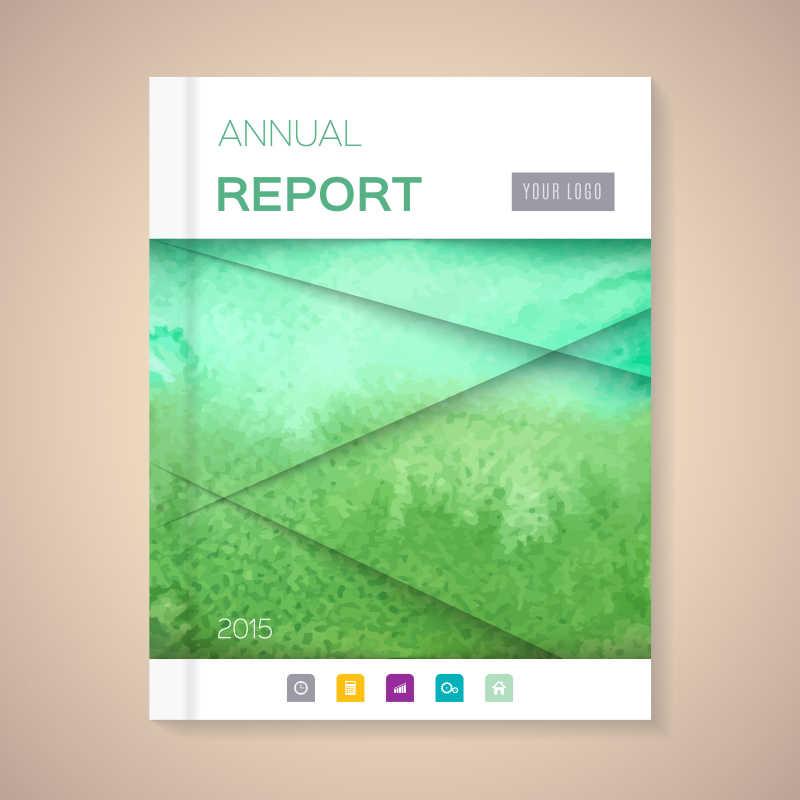 绿色自然年度报告封面矢量设计模板