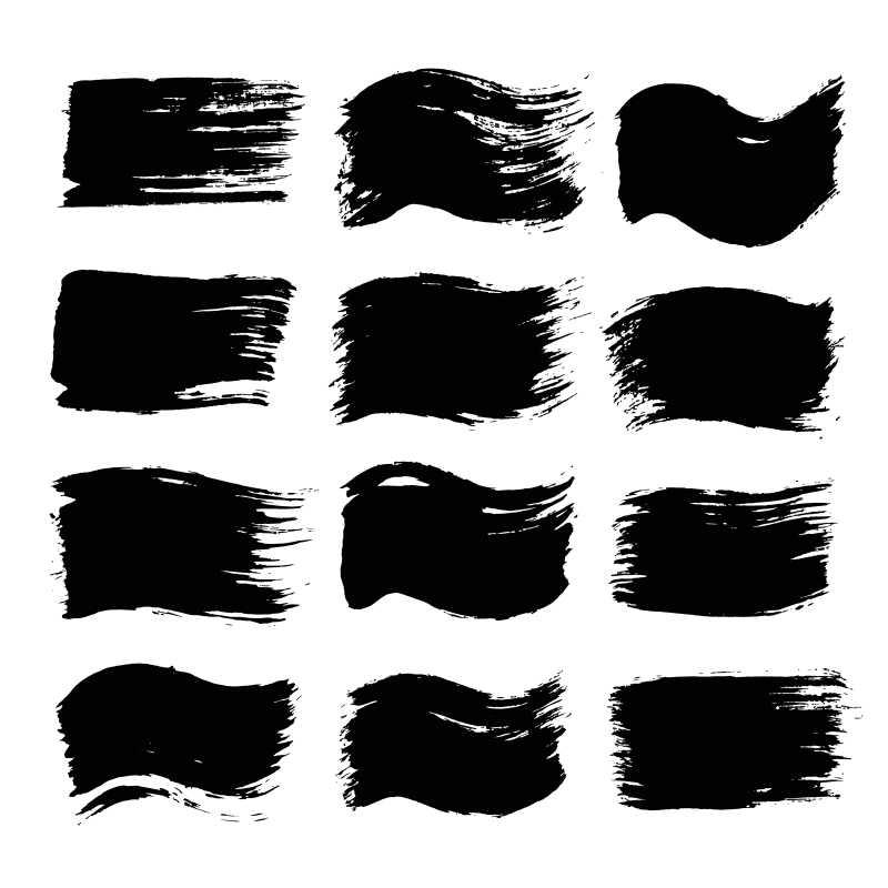 黑色笔刷矢量模板
