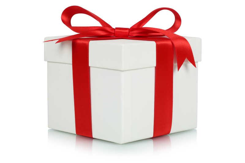 红色蝴蝶结白色礼盒
