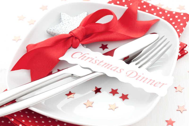 圣诞节餐具精美装饰