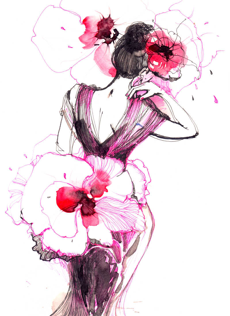 女人的花装绘画