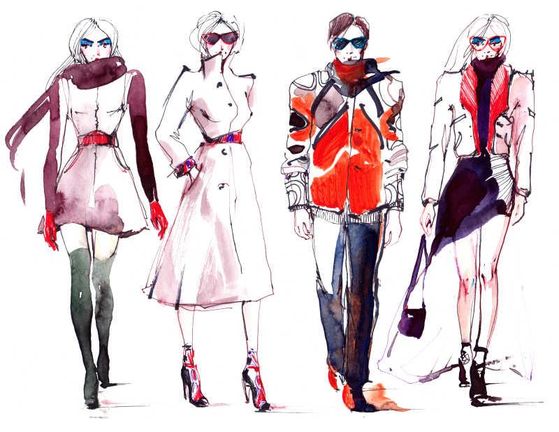4位身穿流行服装的人物绘画
