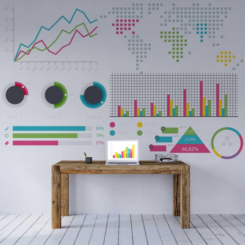 室内数据图标背景墙