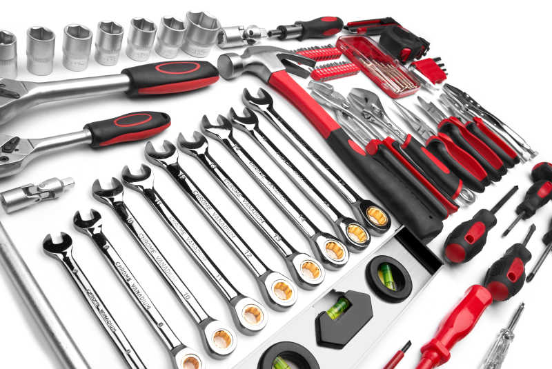 白色着手的各种齐全的工具