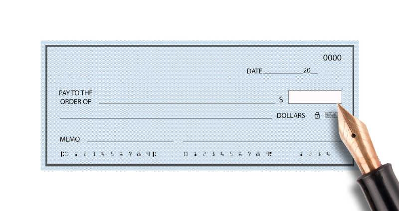 蓝色空白支票