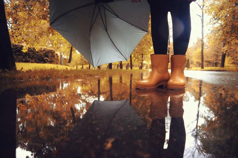 秋雨背景下的棕色橡胶鞋
