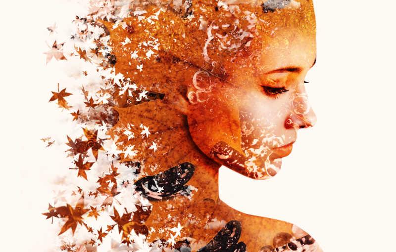 枫叶组成的美女侧脸