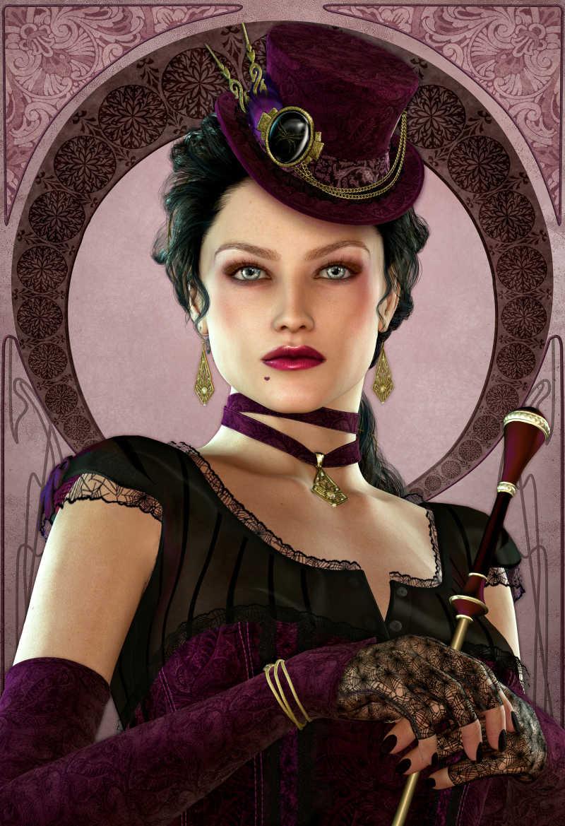 褐色背景下拿着手杖的时尚复古女士