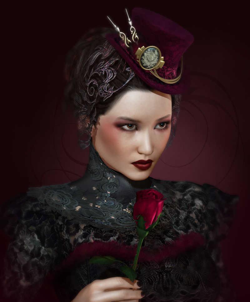黑色背景下拿着玫瑰的时尚复古女士