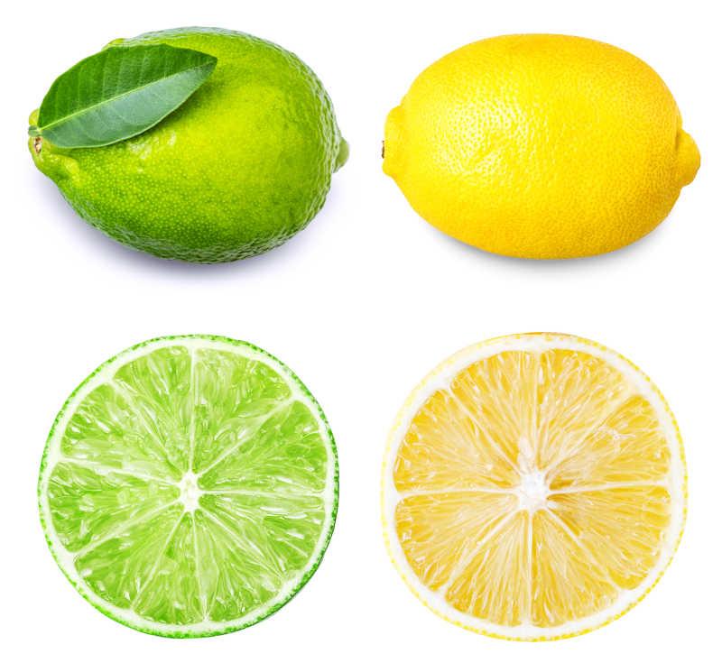 黄皮柠檬与绿皮柠檬在白色背景下
