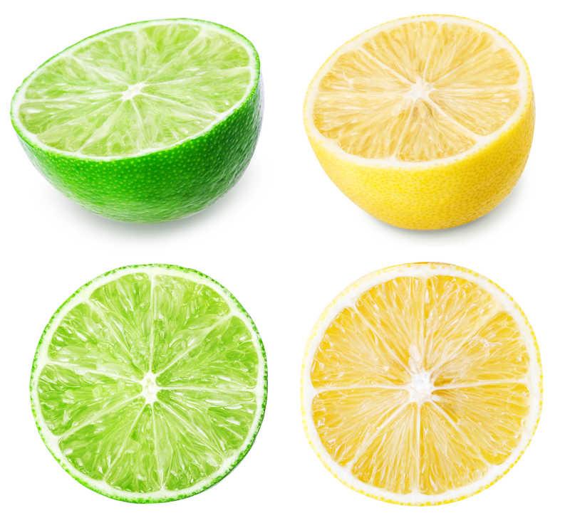 白色背景下切半的柠檬