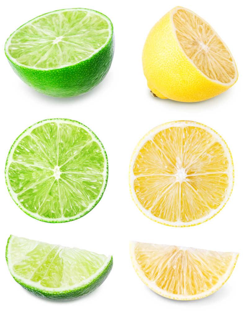 柠檬套装在白色背景下