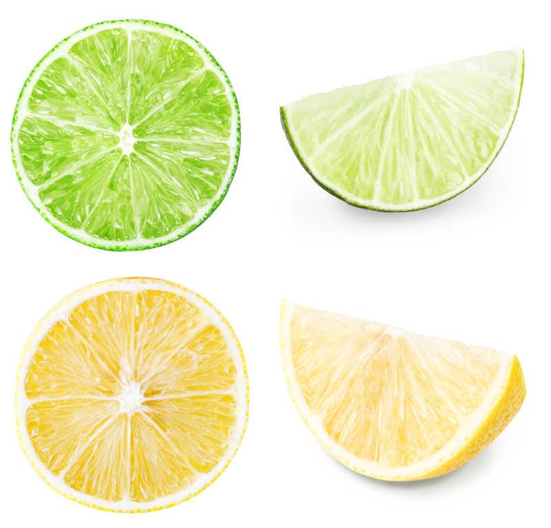 切开的柠檬在白色背景下