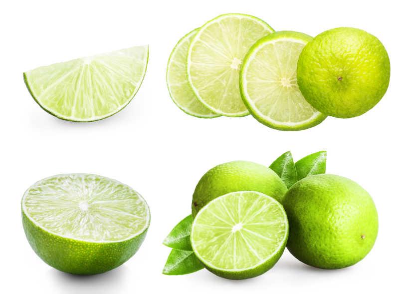 一堆柠檬在白色背景下