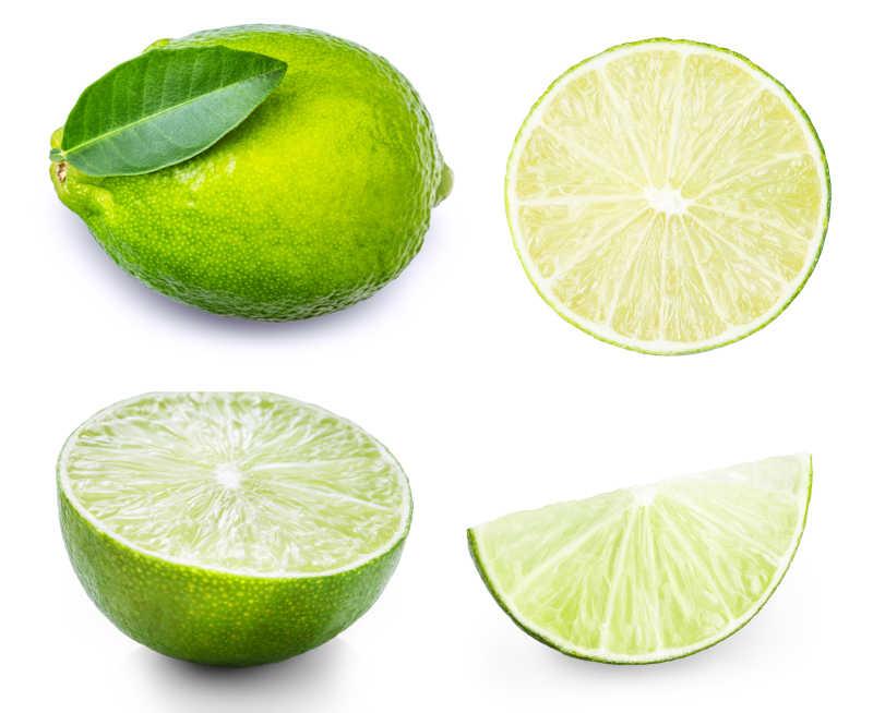 白色背景下新鲜的柠檬