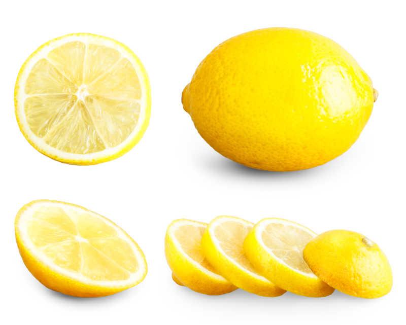 新鲜的柠檬在白色背景下
