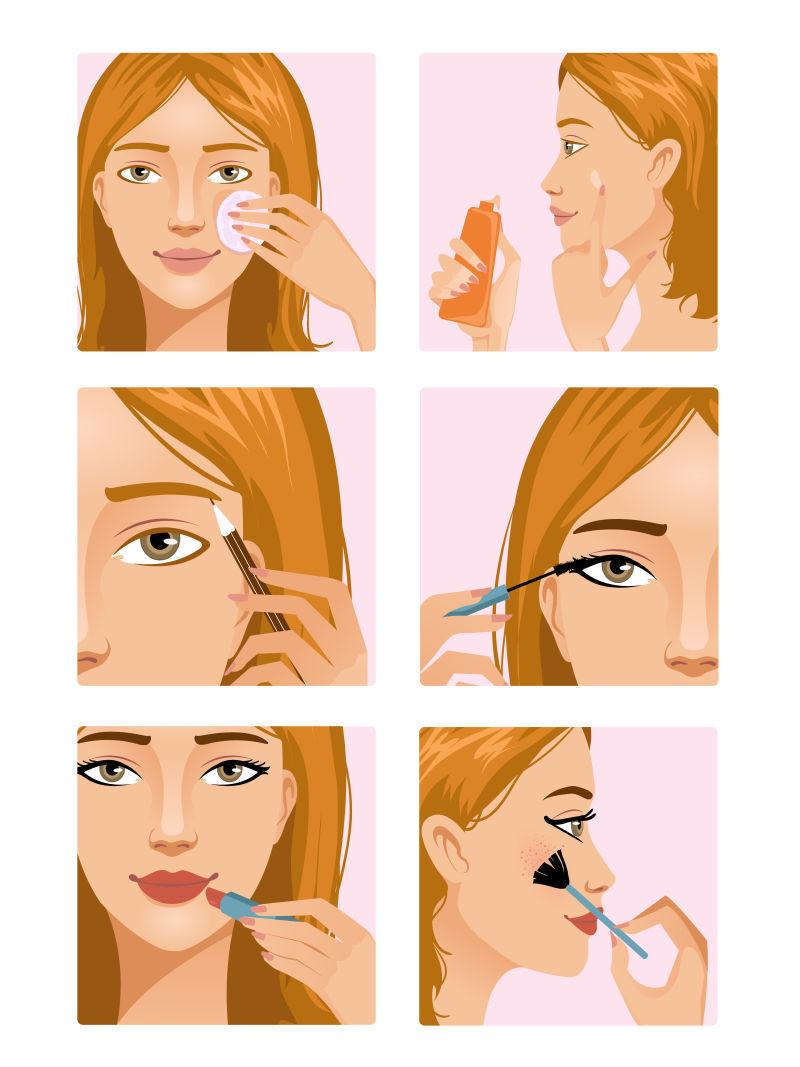 在示范化妆的美女卡通