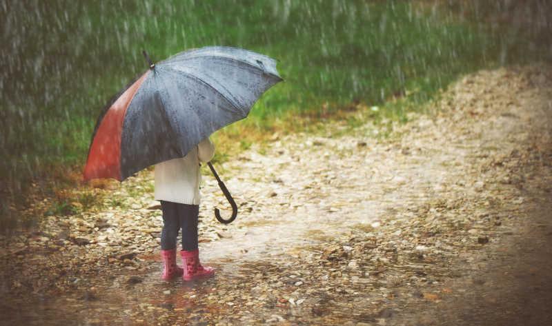 雨中撑着伞的小孩子