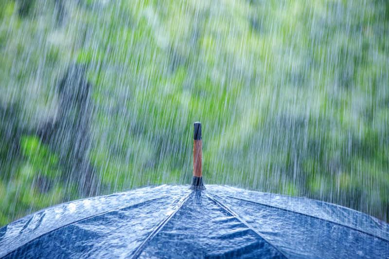 雨水下的雨伞特写