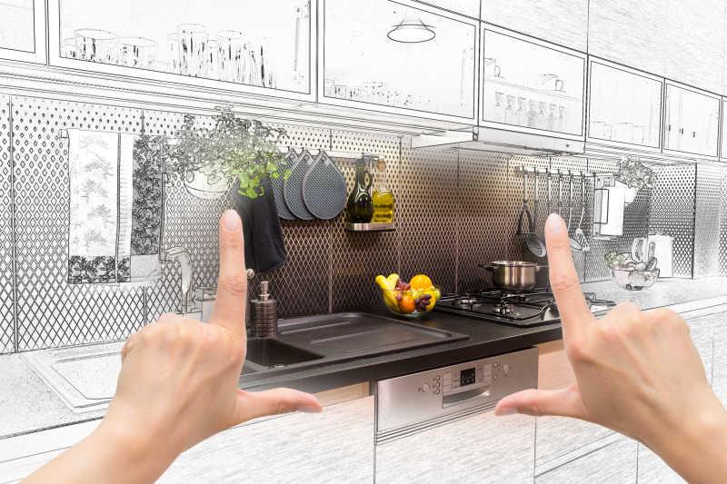女性手工框架定制厨房设计概念